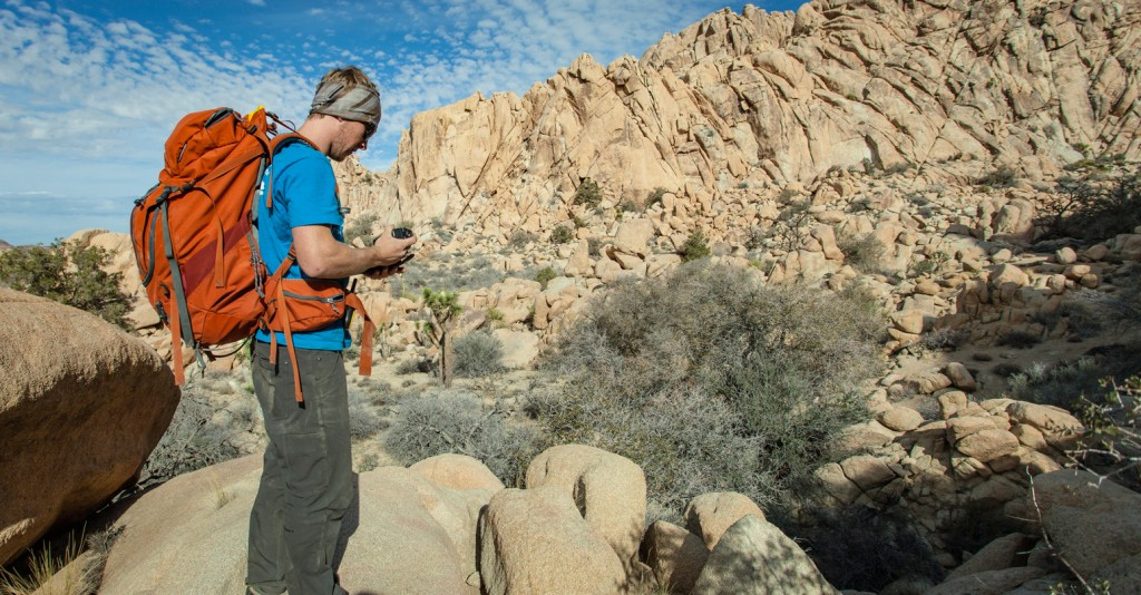 Dakota Collins in Joshua Tree National Park with the Mountainsmith Apex 60 backpack