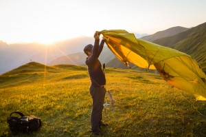 Mountainsmith Ambassador sets up the Mountain Shelter LT tent in the Caucasus Mountains