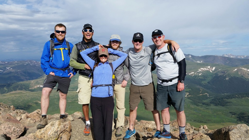 Jeremy Dodge, Jay Getzel, Keegan Young, Ben Edwards, Penn Burris, and Vikie Hormuth stand at the summit of Mt. Bierstadt