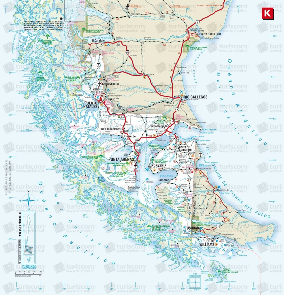 Map of the Patagonia Region, Chile