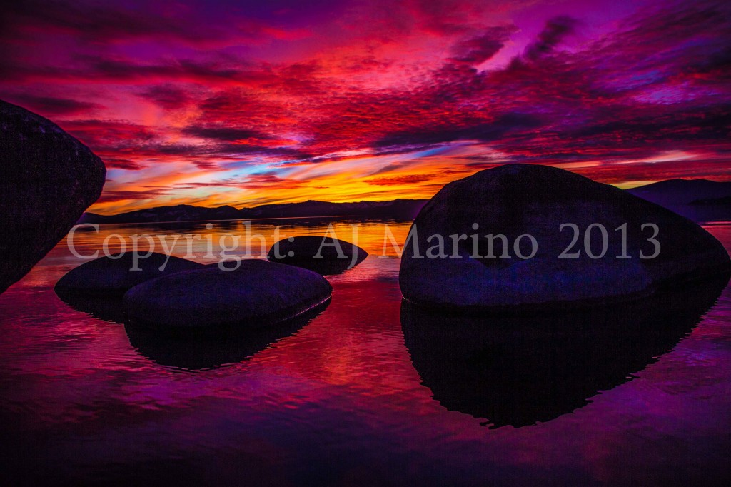 AJ Marino photography photo image of Lake Tahoe California at sunset in front of boulders