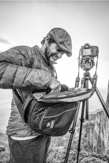 Andy Mann working out of the mountainsmith Descent camera bag