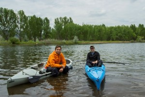 Nick Caiazza and Joe Zimmerman test out their Hobie kayaks in Chatfield Reservoir