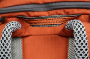 reinforced webbing handle on the Mountainsmith Mayhem 35 backpack