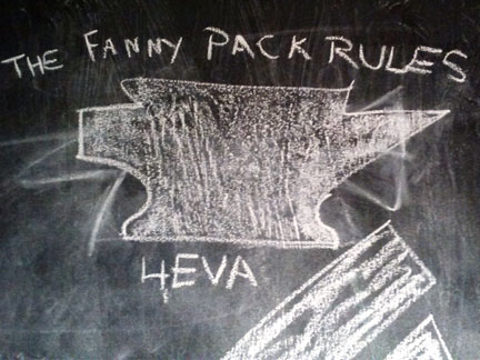 Mountainsmith Anvil chalk art at the Eastern Mountain Sports board room