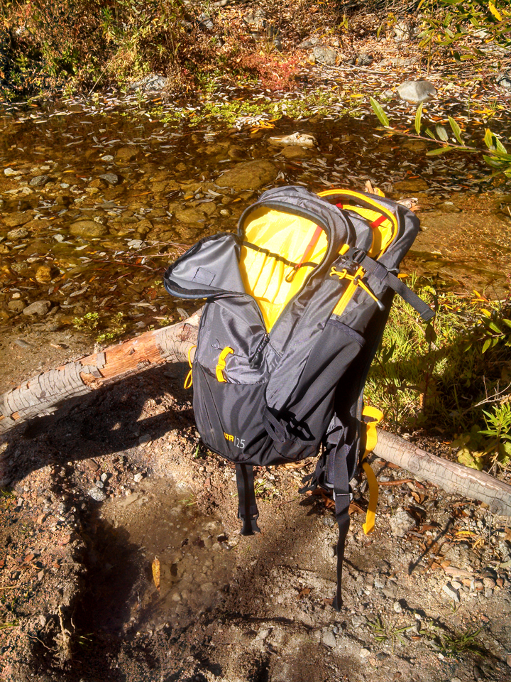the mountainsmith wraith 25 opened up to show the organizational pockets