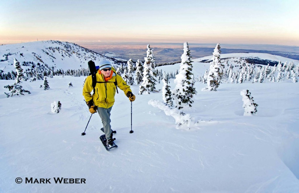 Elijah Weber snowshoeing on Mount Harrison high in the Albion Mountains above the city of Albion in southern Idaho
