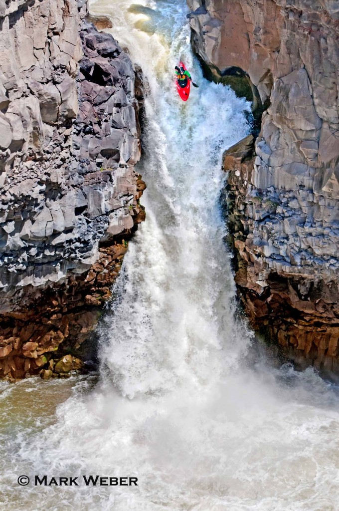 Russell Davies Kayaking the Devils Washbowl which is rated Class 6 and located at the Malad Gorge on the Malad River in southern Idaho
