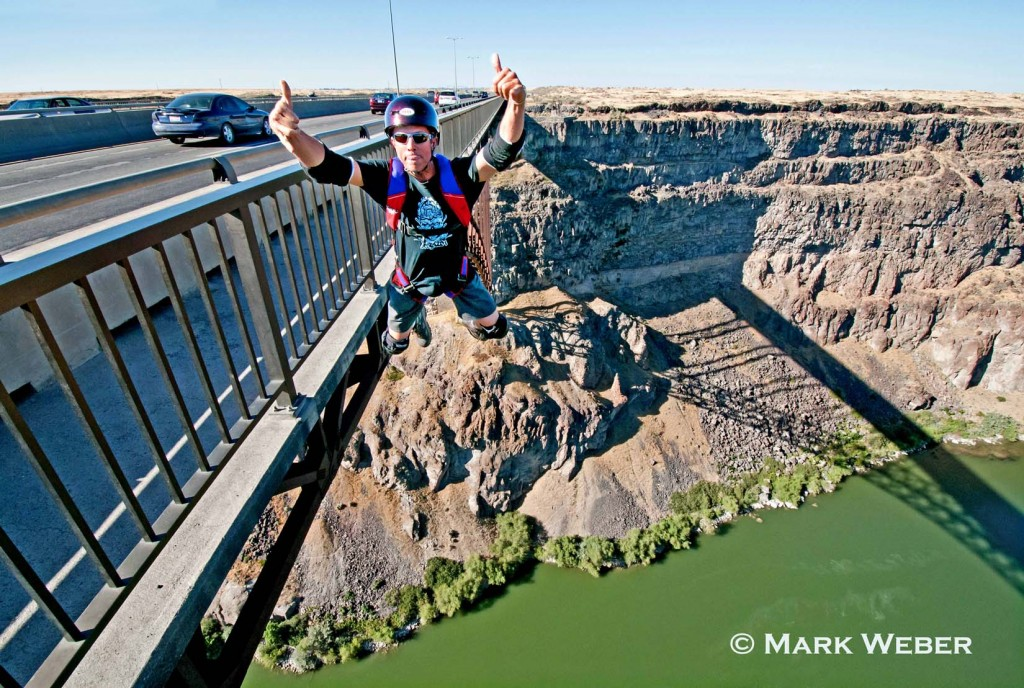 Harry Parker BASE Jumping the Perrine Memorial Bridge over the Snake River Canyon near the city of Twin Falls in southern Idaho