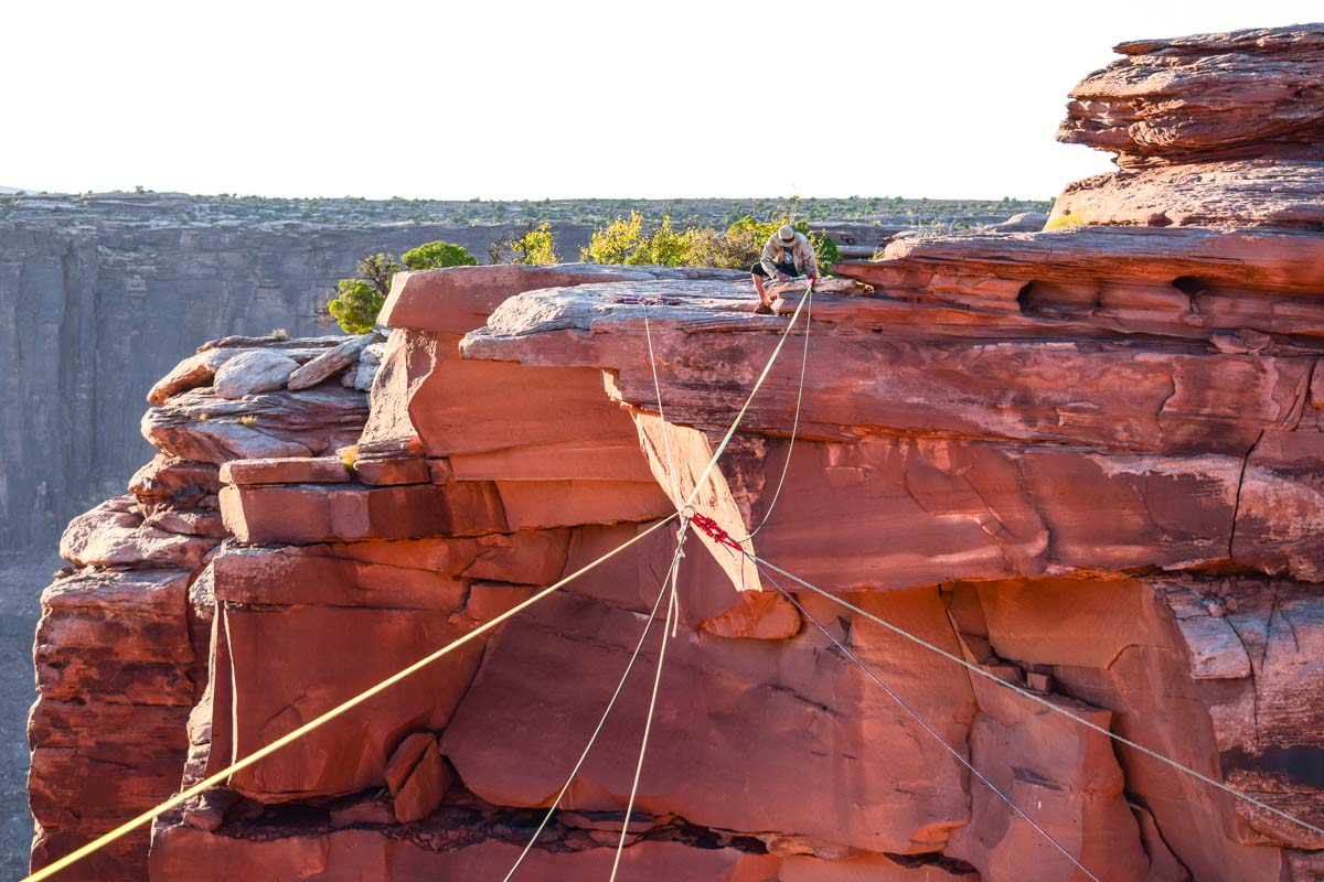High-line rigging and the giant swing span the fruit bowl in moab.