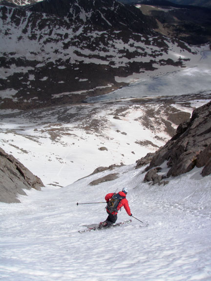 Darrin from Smartwool making first tracks down the perfect corn snow
