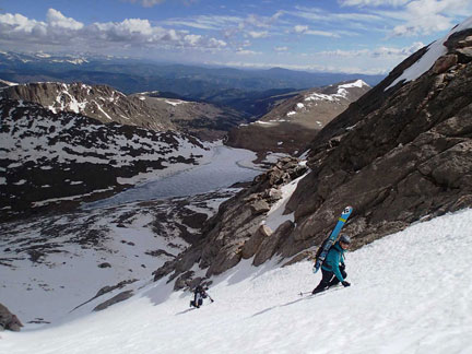 Great views abound as we make our way up the side of Mt. Evans (Summit Lake below).