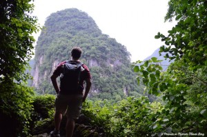 Josh Wilson  in Yangshuo, China hiking with the Mountainsmith Spectrum backpack