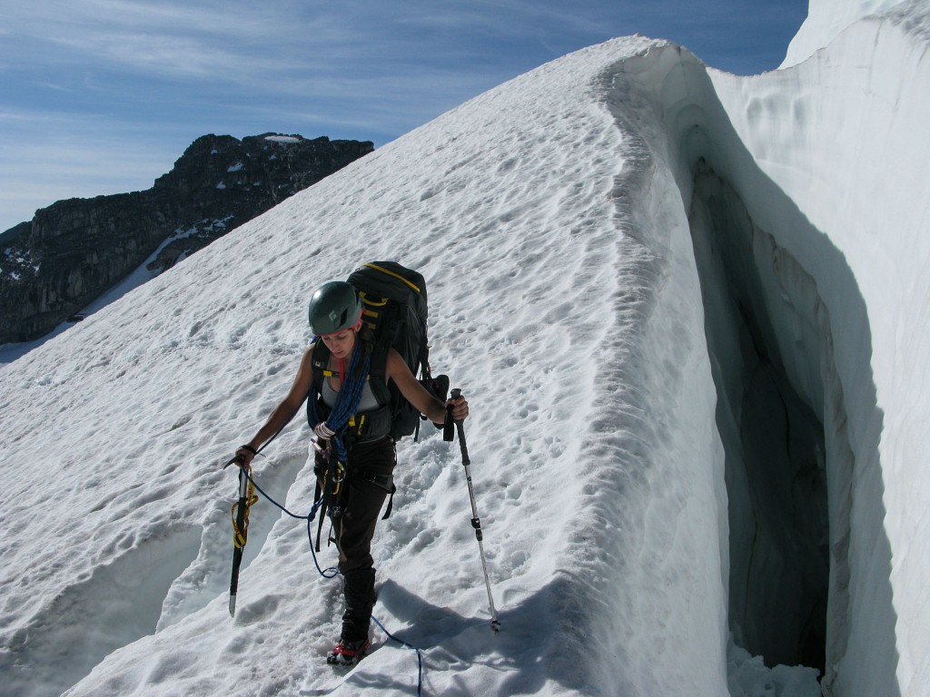 A climber descends the Vowell Glacier with the Mountainsmith Mystic 65 backpack