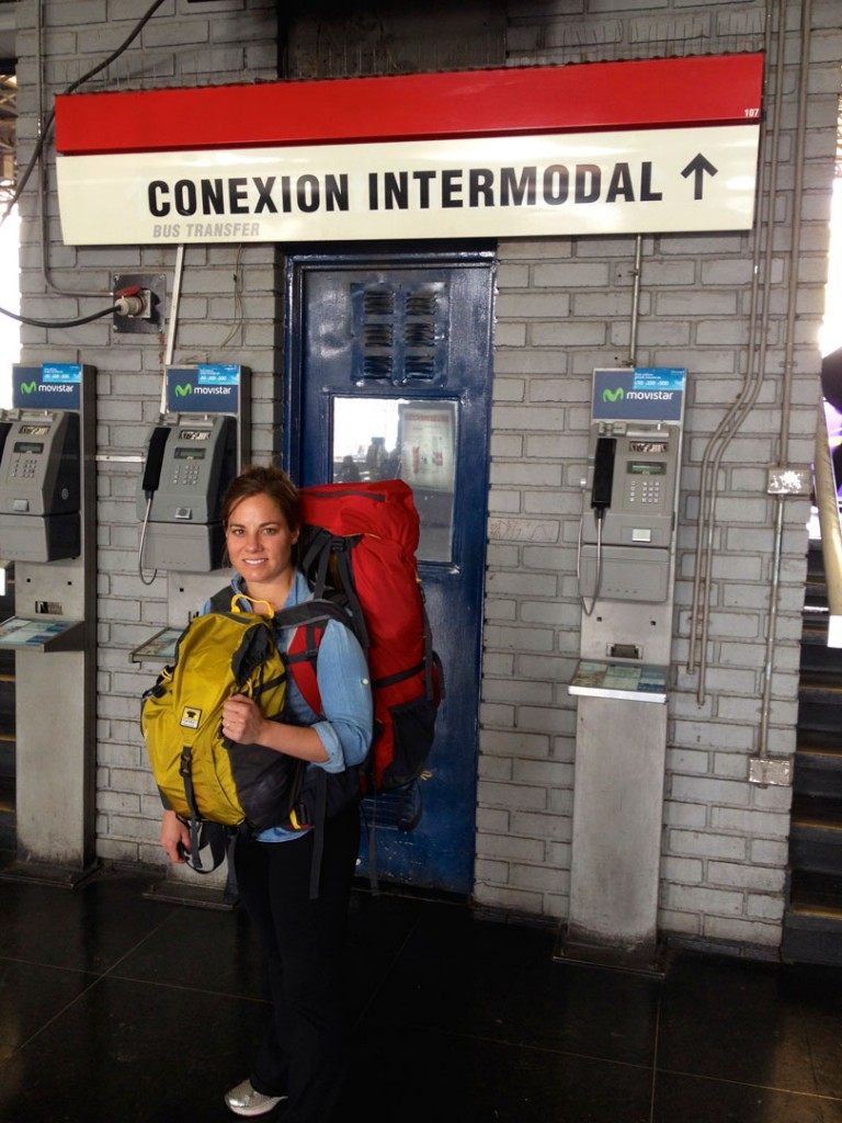 Ashley in south american terminal with her Mountainsmith Juniper and Scream