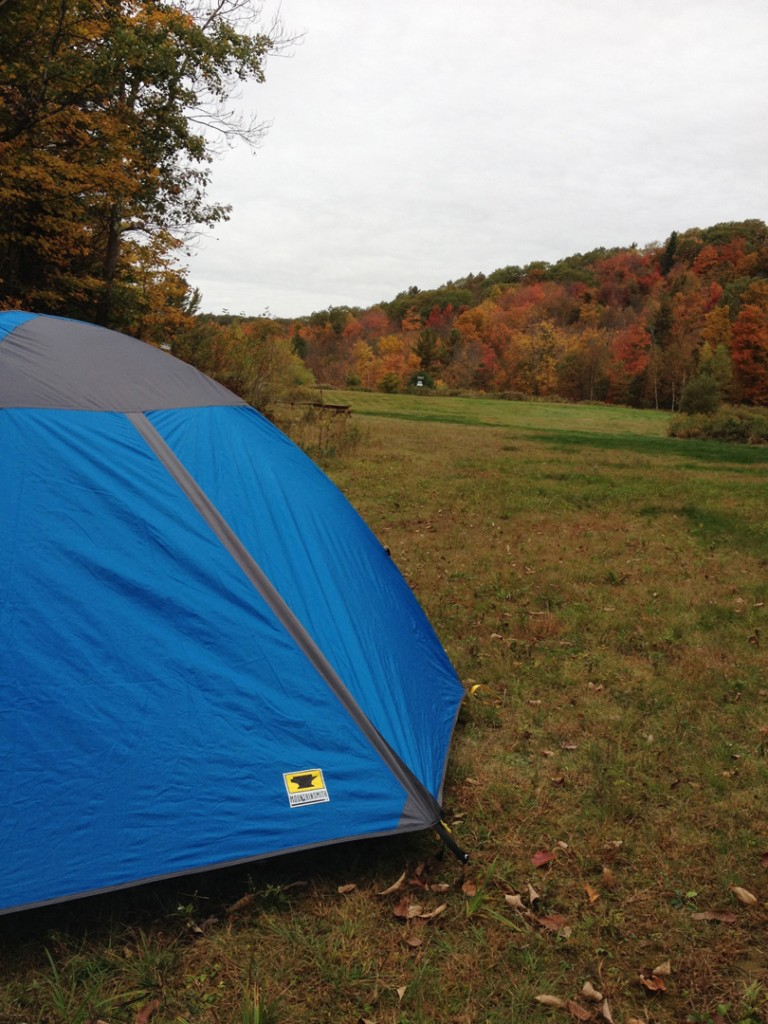 The Mountainsmith Genesee 4 tent set up in Vermont during peak foliage