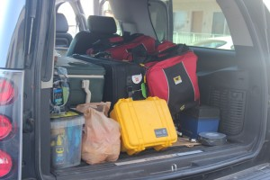Mountainsmith Bike Cube Deluxe among a car trunk full of gear necessary for the Furnace Creek 508