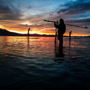 AJ Marino filing stand up paddle boarding with the lite pro gear crane