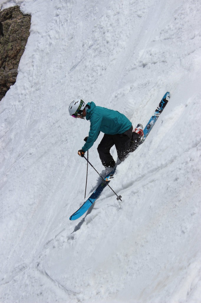 Newly named president of Mountainsmith, Jay Getzel, sends it down the steeps at Arapahoe Basin Ski area on telemark skis.