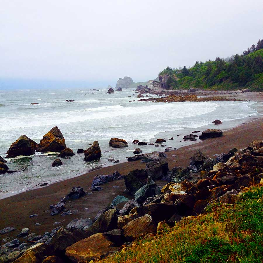 Beautiful, craggy, foggy coastline in the northern reaches of California.