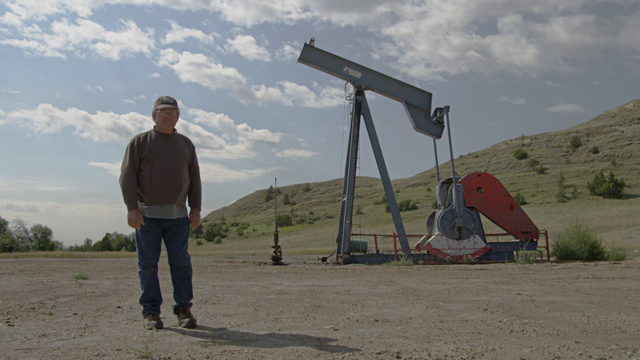 Land owner with a broken oil pad in Montana