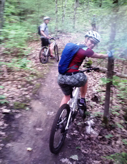 Hal Ellms and Sarah Miller from Pinnacle Outdoor Group on the trails at the Sunny Hollow Nature Park in Colchester, VT.