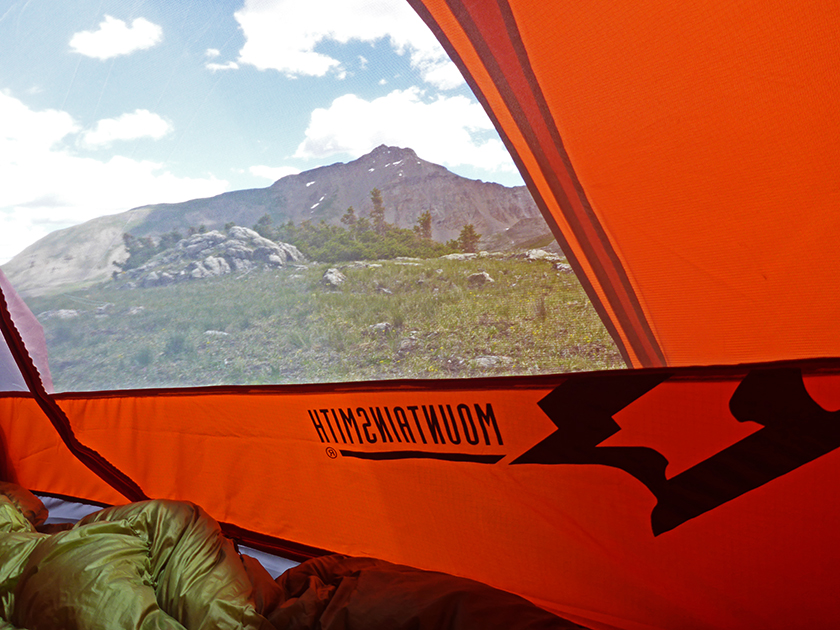 a view of out of the Mountainsmith Mountain Dome 2 tent in Colorado