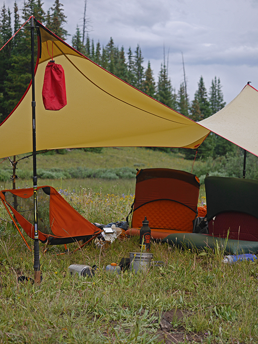 Mountainsmith Carbonlite Pro Trekking Poles used to set up a rain canopy