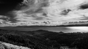 """The view from the """"Bench"""" a memorial bench built high up on Tahoe's ridge line."""