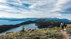 The view from Snow Valley Peak. Marlette Lake in the foreground, and Lake Tahoe in the background.