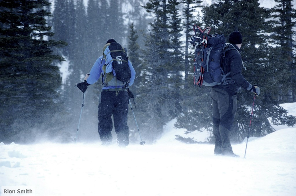 Backcountry skiing and snow shoeing in the rocky mountains