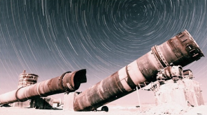 Old cement plant full moon star trail photo by Derrick Lytle