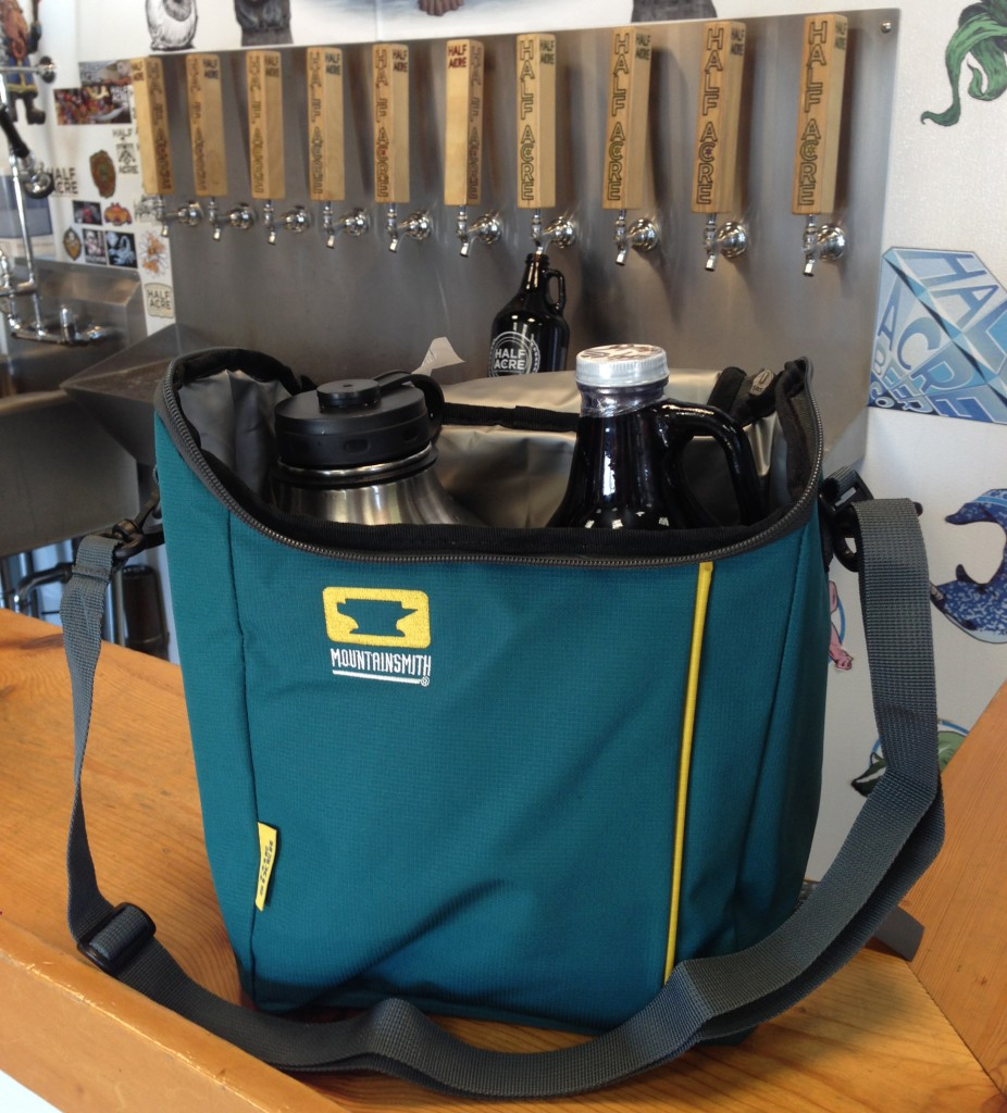 The Mountainsmith Sixer Cooler carrying two growlers