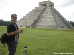 Josh Wilson of Peanuts or Pretzels snaps a photo of Chichen Itza using a small tripod he carried in his Mountainsmith Tour FX