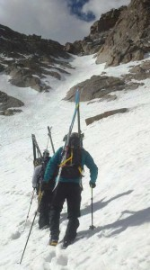 Jay Getzel starting up the couloir with his Mountainsmith Mayhem 35 on Mount Evans