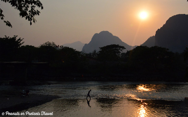 Sunset on the River in Vang Vieng, Laos