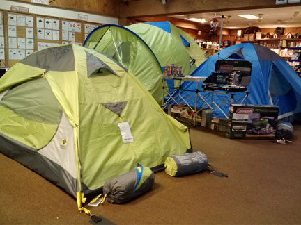 Mountainsmith tents looking good in the Kittery Trading Post camping department