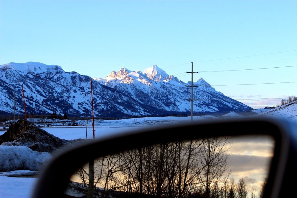 the view of the tetons from the south out of mark wayne sisk's car window