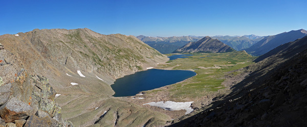views of alpine fishing lake from 13,000 feet above sea level