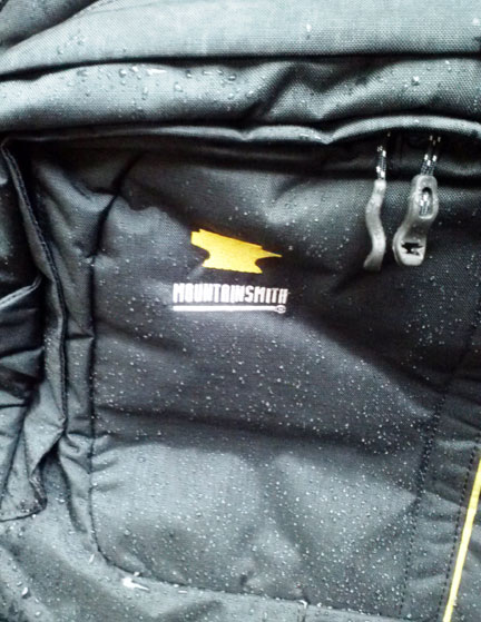 2014 Mountainsmith camera bag fabric showing it is water-resistant