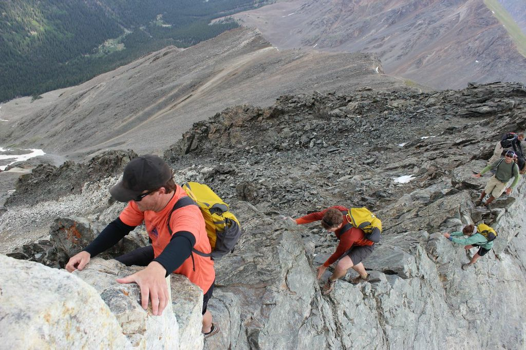 Nearing the summit, a knife-edge sections poses the major crux of Kelso Ridge
