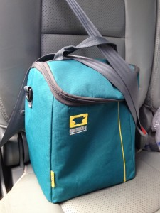 The Mountainsmith Sixer Cooler buckled into the back seat of a car.