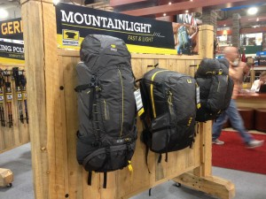 Mountainsmith's Mountainlight backpacks displayed in their new booth at outdoor retailer