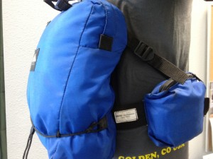 A view of one of the original delta compression straps on a mountainsmith lumbar pack