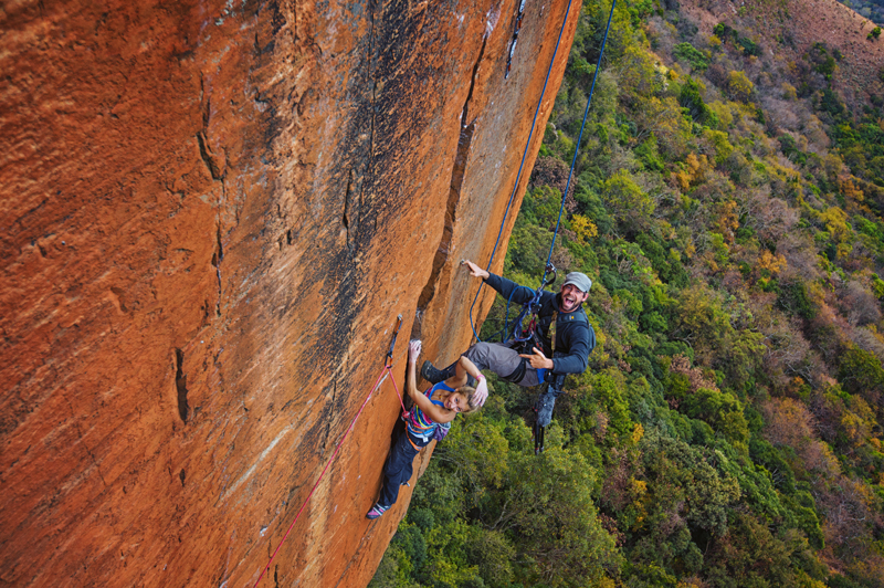 Andy Mann and Sasha DiGiulian climbing on Rolihala in Kruger National Park, South Africa