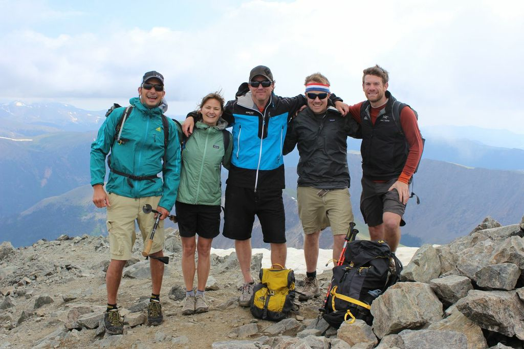 Jay Getzel, Vickie Hormuth, Keegan Young, Jeremy Dodge, and Erik Lambert stand on top of Torrey's Peak