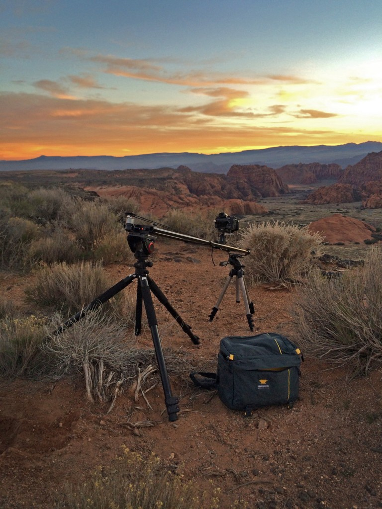 The Mountainsmith Tour FX next to a time lapse photographer assembly