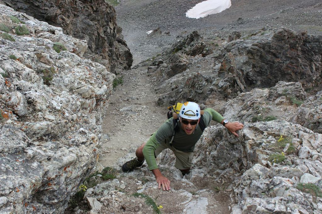 Mountainsmith President Jay Getzel, focuses and ascends up a class 4 section of Kelso Ridge.
