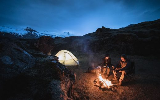Man and woman camping in Iceland